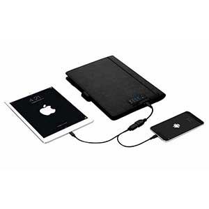 Folder with Power Bank, 8 GB Flashdrive & Built-in Cables for Charging - 4000 mAh